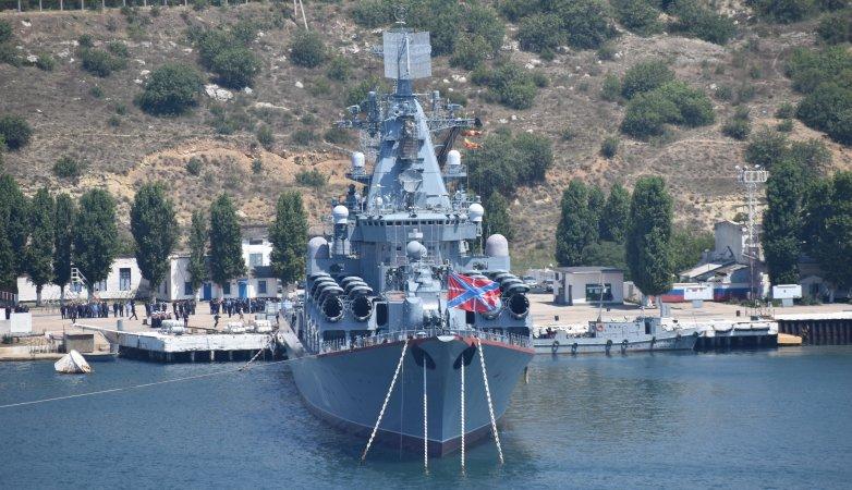 Ракетный крейсер Москва в Севастополе. Июль 2018 года