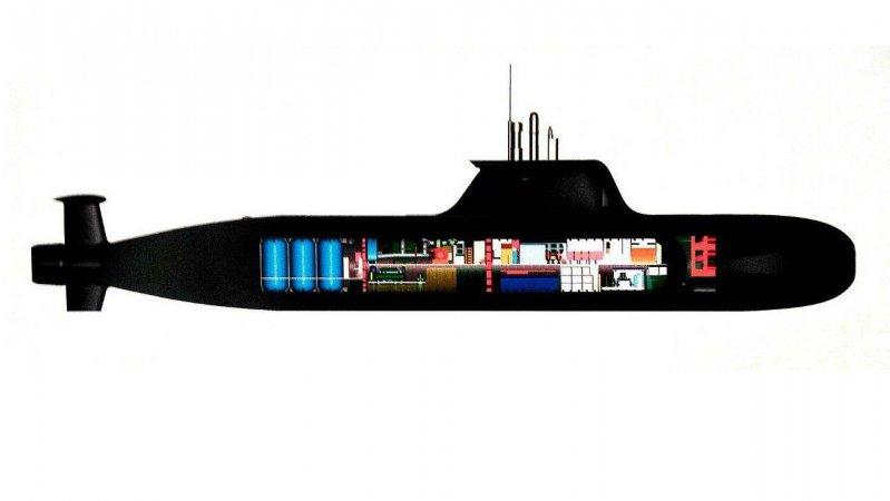 Схема малой подводной лодки прибрежного действия П-750Б, оснащенной ВНЭУ на основе газотурбинного двигателя замкнутого цикла