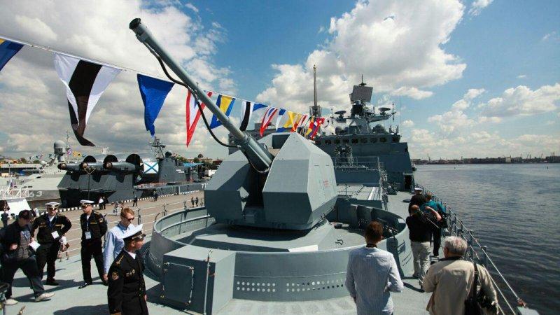 """Фрегат """"Адмирал Макаров"""" (пр. 11356), артустановка 100-мм А-190"""