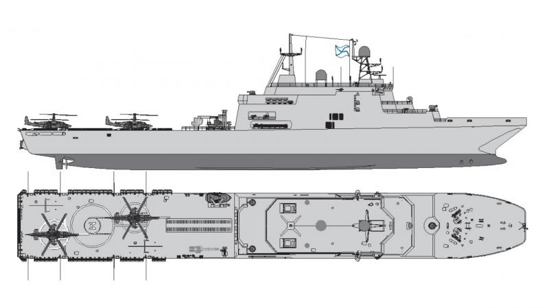 Один из вариантов облика БДК второй серии проекта 11711